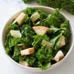 Easy Vegetarian Kale Caesar salad in a bowl.