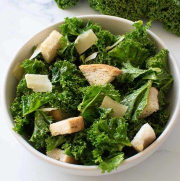 Easy Vegetarian Kale Caesar salad in a bowl.