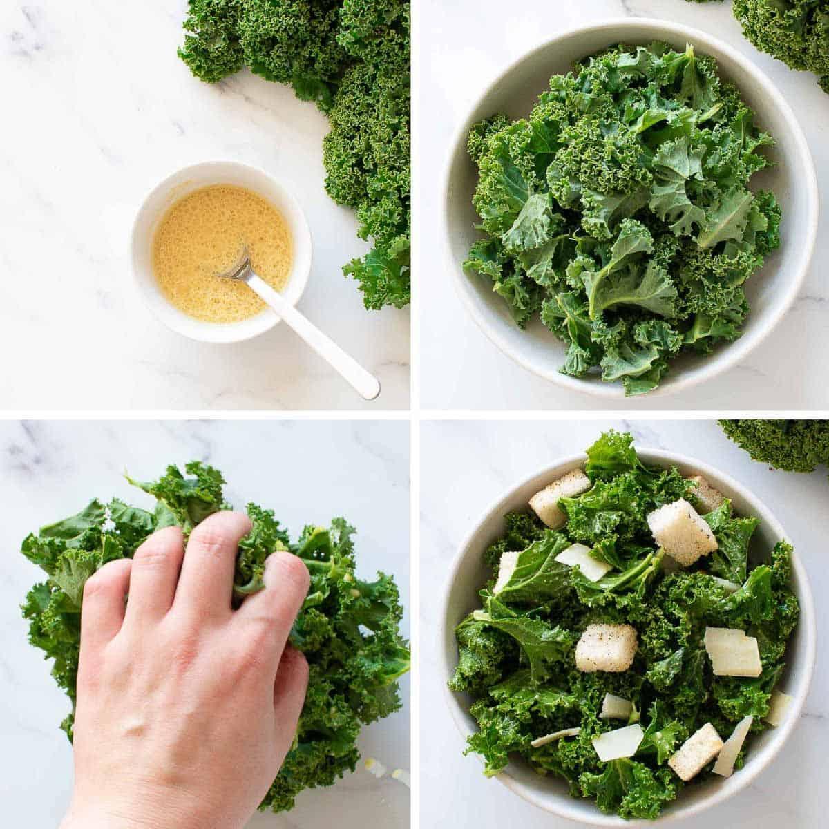 Step by step images showing how to make vegetarian kale caesar salad.