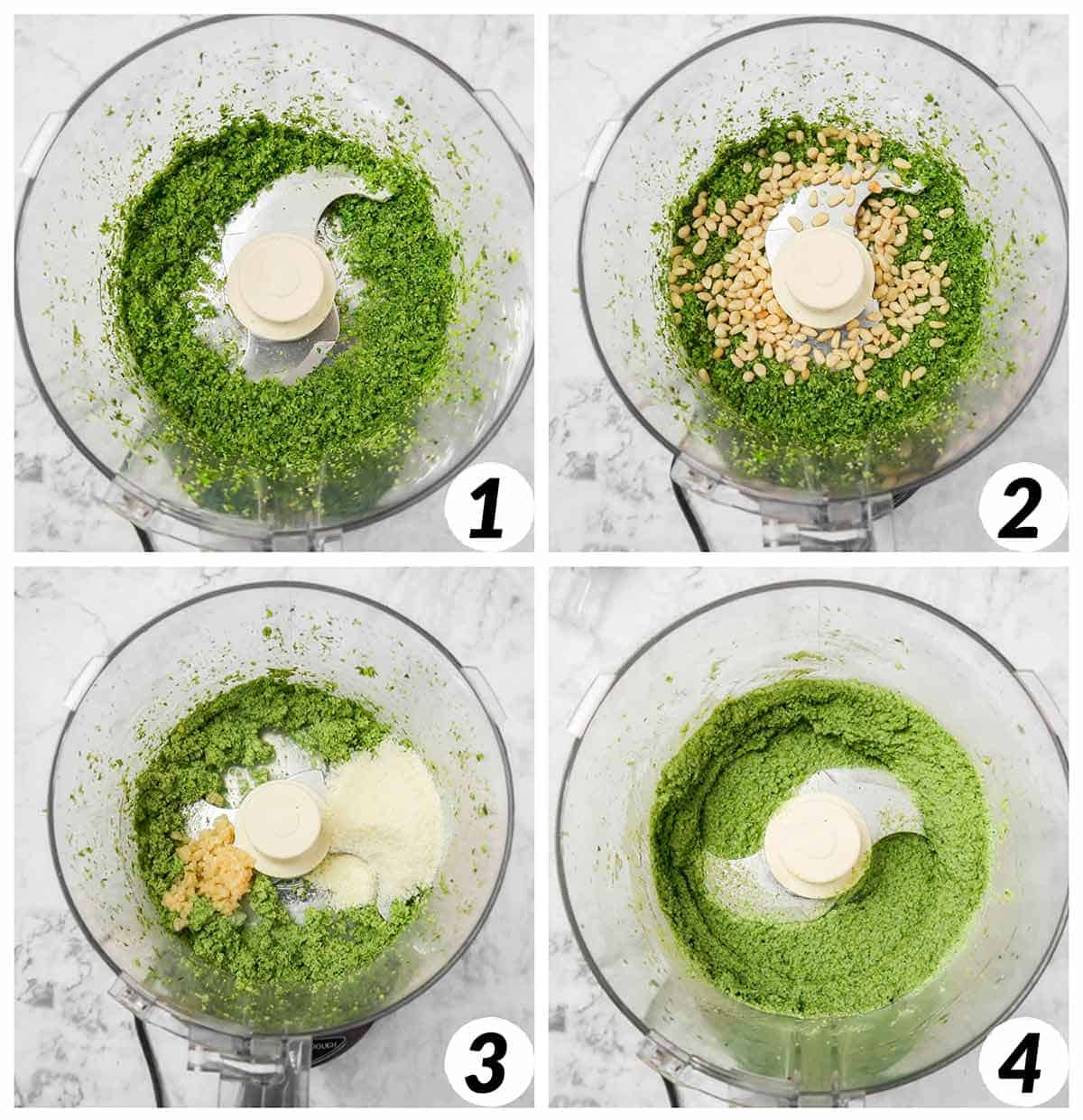 Four panel collage of process shots- mixing together ingredients gradually and mixing with a food processor.