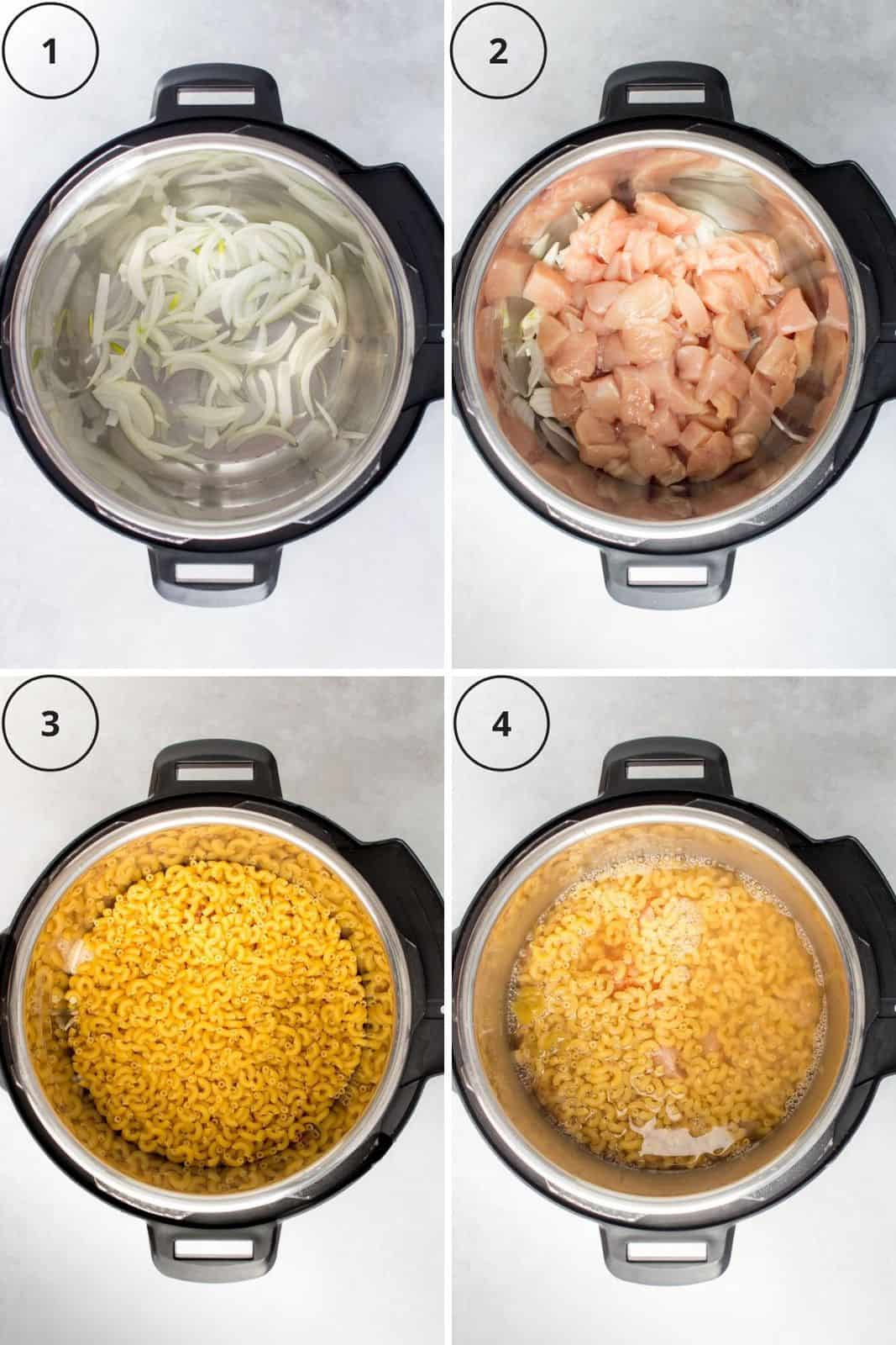 Set of four photos showing onions, chicken, macaroni, and broth added to a pressure cooker.
