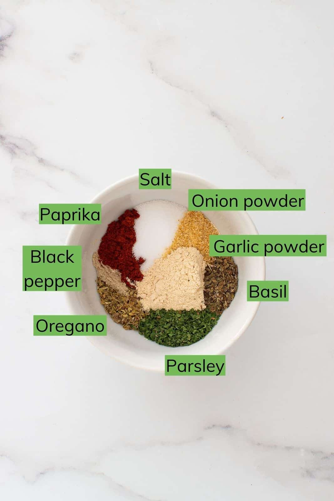 Ingredients for french fry seasoning.