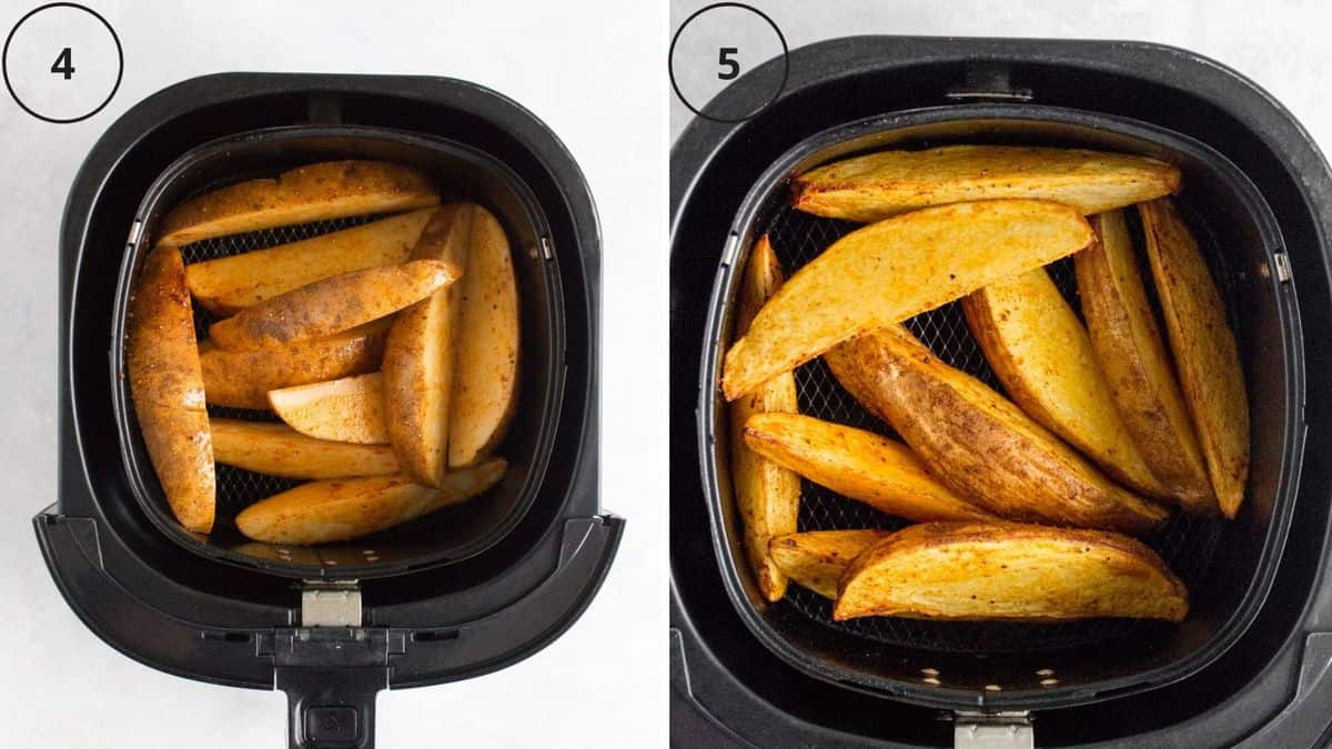 Set of two photos showing potato wedges before and after cooking in the air fryer.