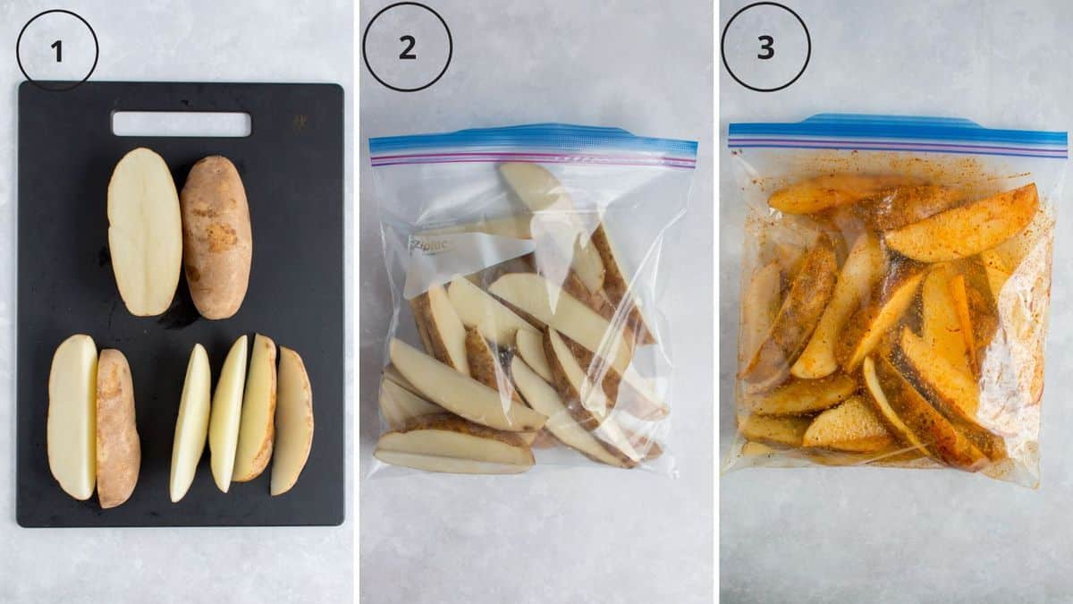 Set of three photos showing how to cut a potato and coat it with seasoning.