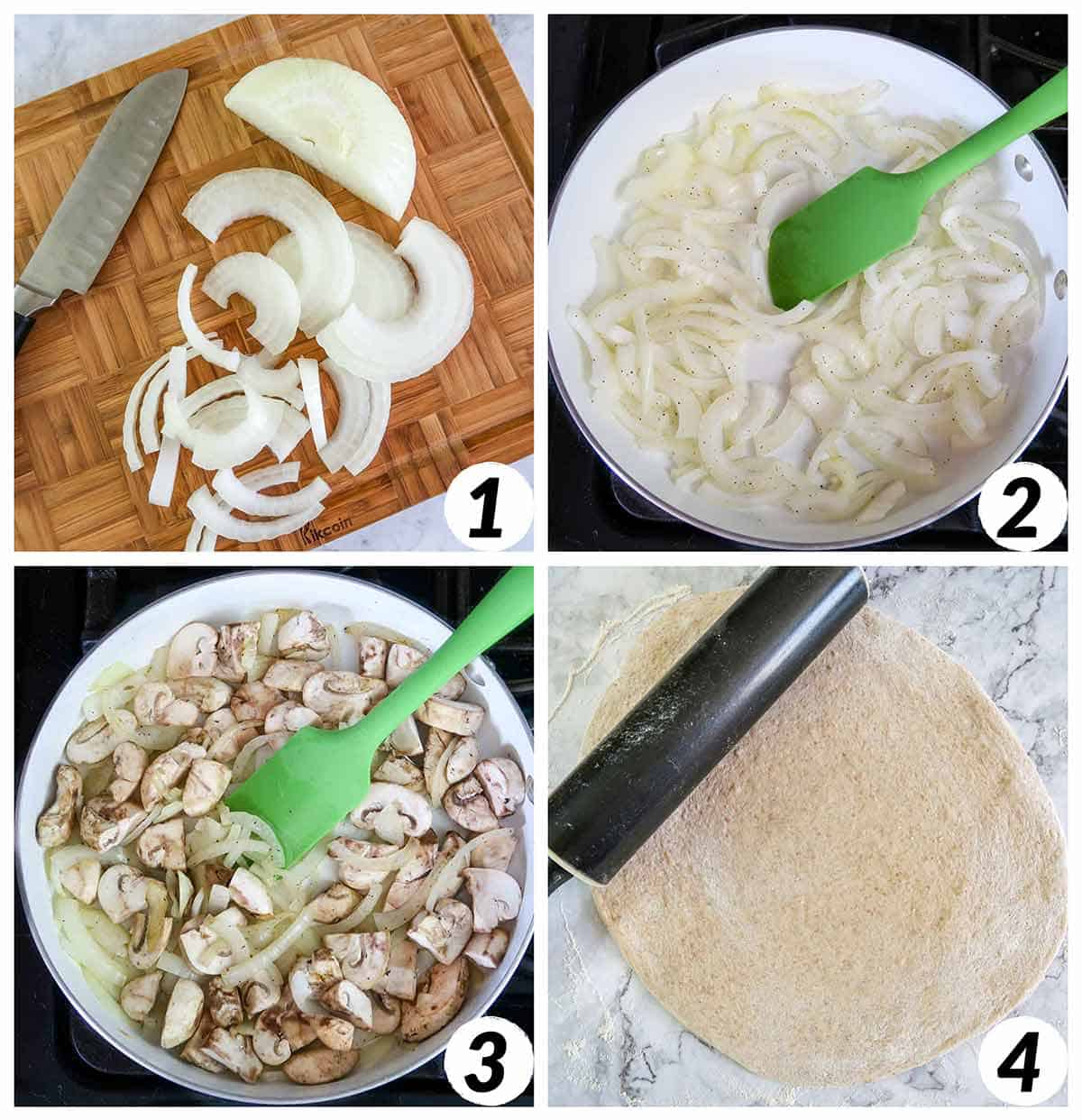 Four panel collage of process steps 1-4. Chopping and cooking onion, mixing in mushrooms, and rolling out pizza dough.