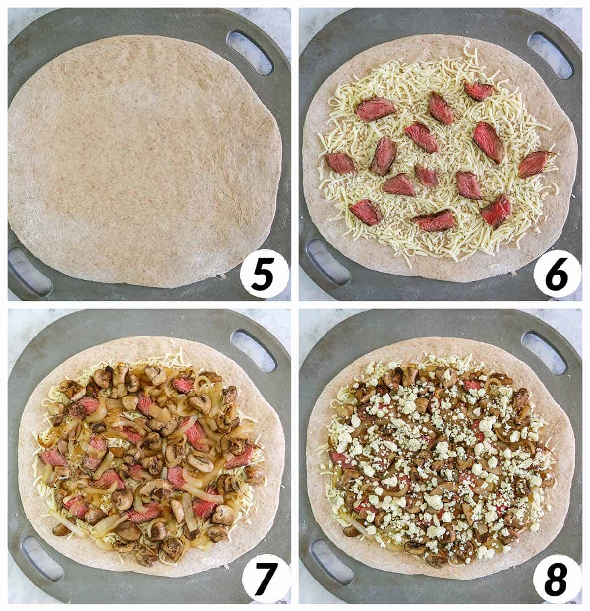 Four panel collage of process steps 5-6. Layering ingredients on top of pizza dough and baking.