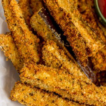 Close up of crispy eggplant fries.