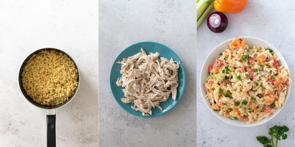 Step by step images showing how to make chicken macaroni salad.