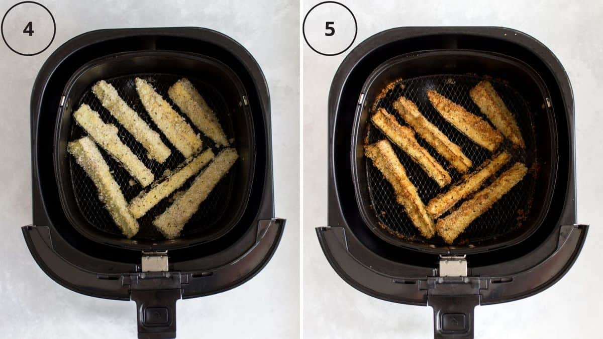 Set of two photos showing before and after air frying eggplant fries.