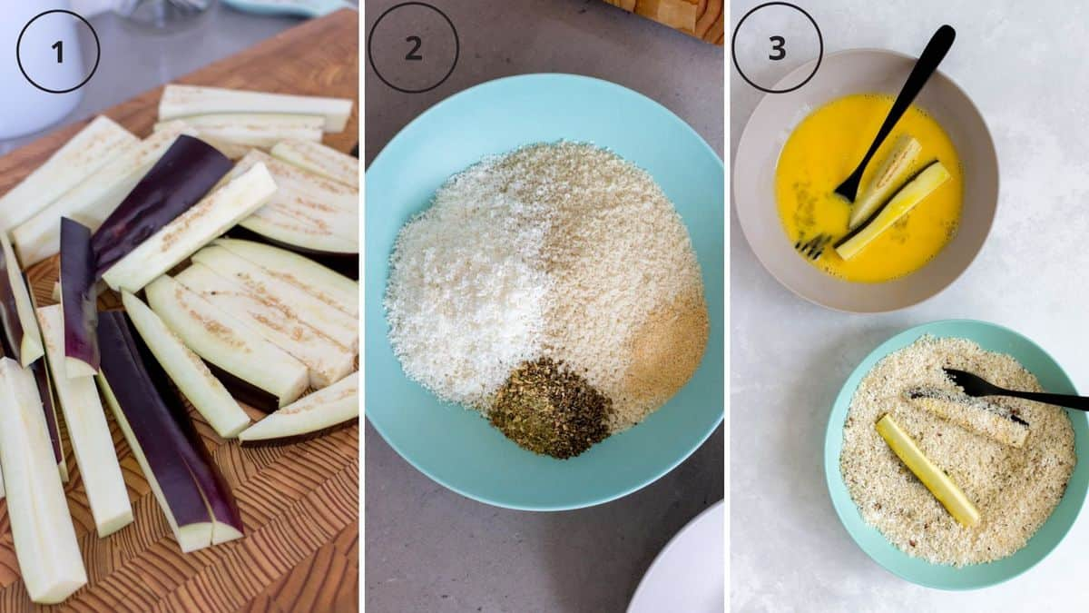 Set of three photos showing eggplants cut up, coating mix, and then eggplant sticks being coated in egg and coating.