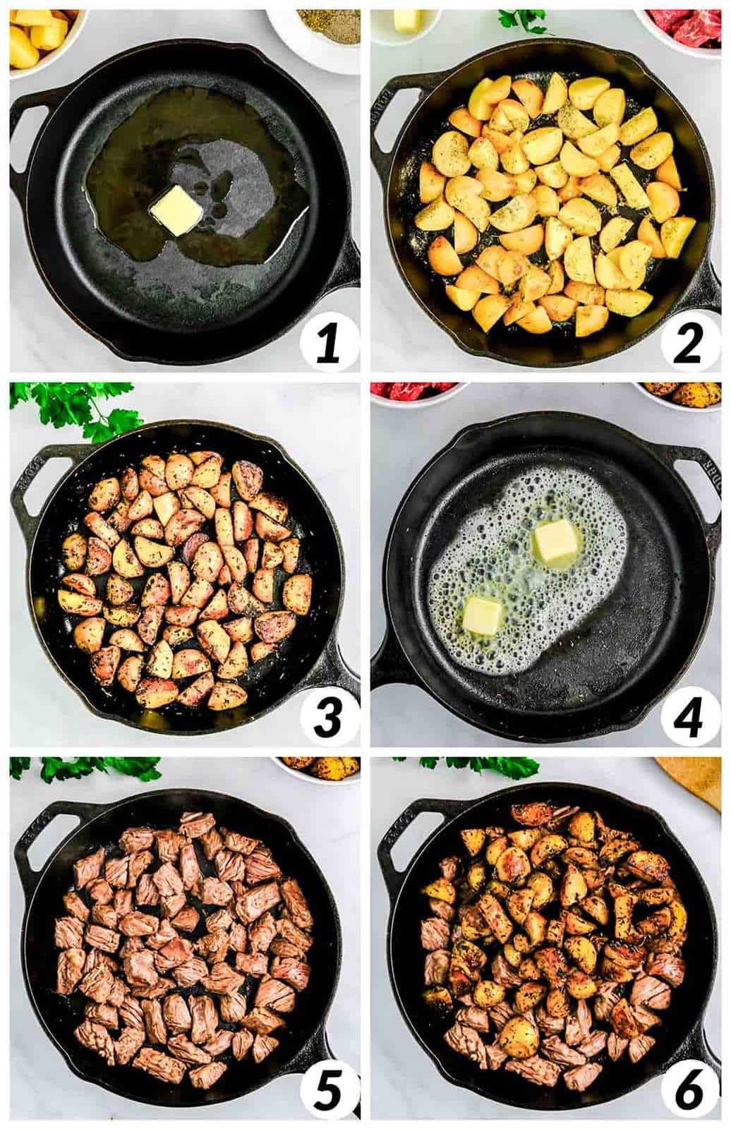 Collage with 6 steps for making the steak bites with potatoes in garlic and butter.