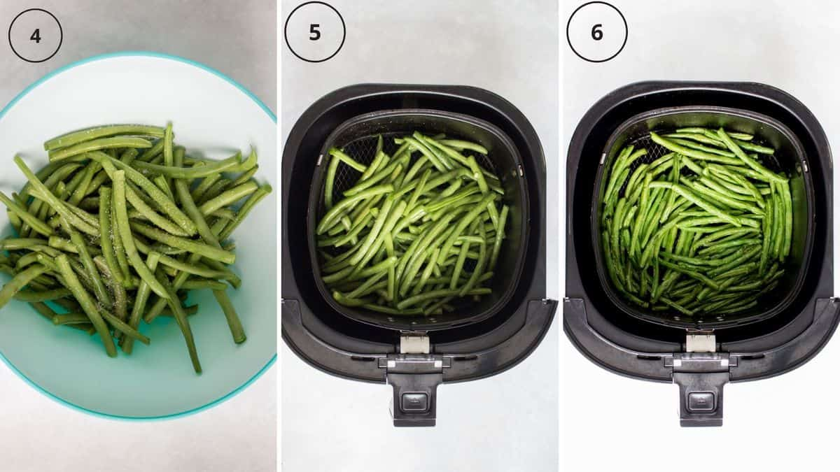 Set of three photos showing seasoned green beans air fried.