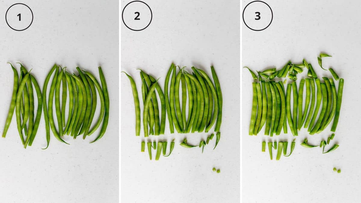 Step by step photos how to cut green beans.