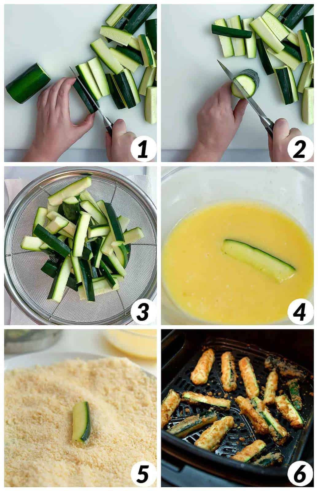 Six panel collage of process shots- cutting the zucchini into strips, coating them with egg and then cheese, and frying in the air fryer.