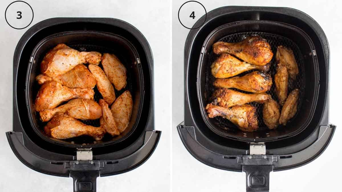 Set of two photos showing before and after the chicken wings get cooked in the air fryer.