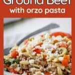 Side shot of ground beef orzo pasta in a white bowl with a fork on the side.