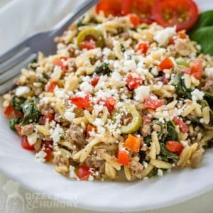 Side angled view of ground beef orzo pasta in a white bowl with a fork on the side.
