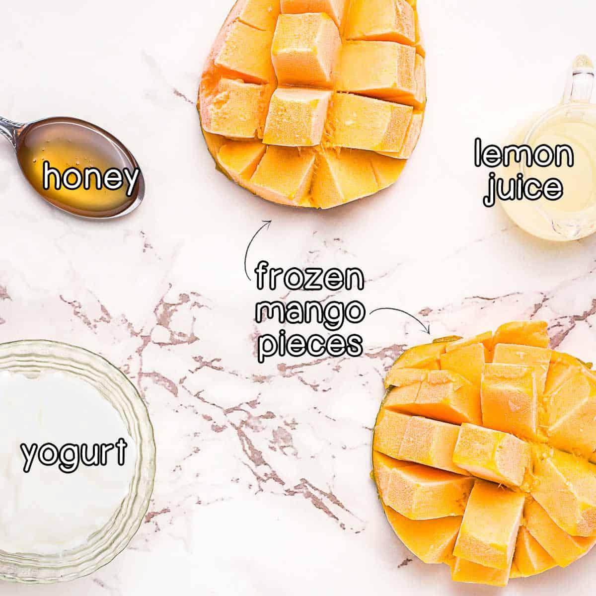 Overhead shot of ingredients- frozen mango pieces, honey, lemon juice, and yogurt.