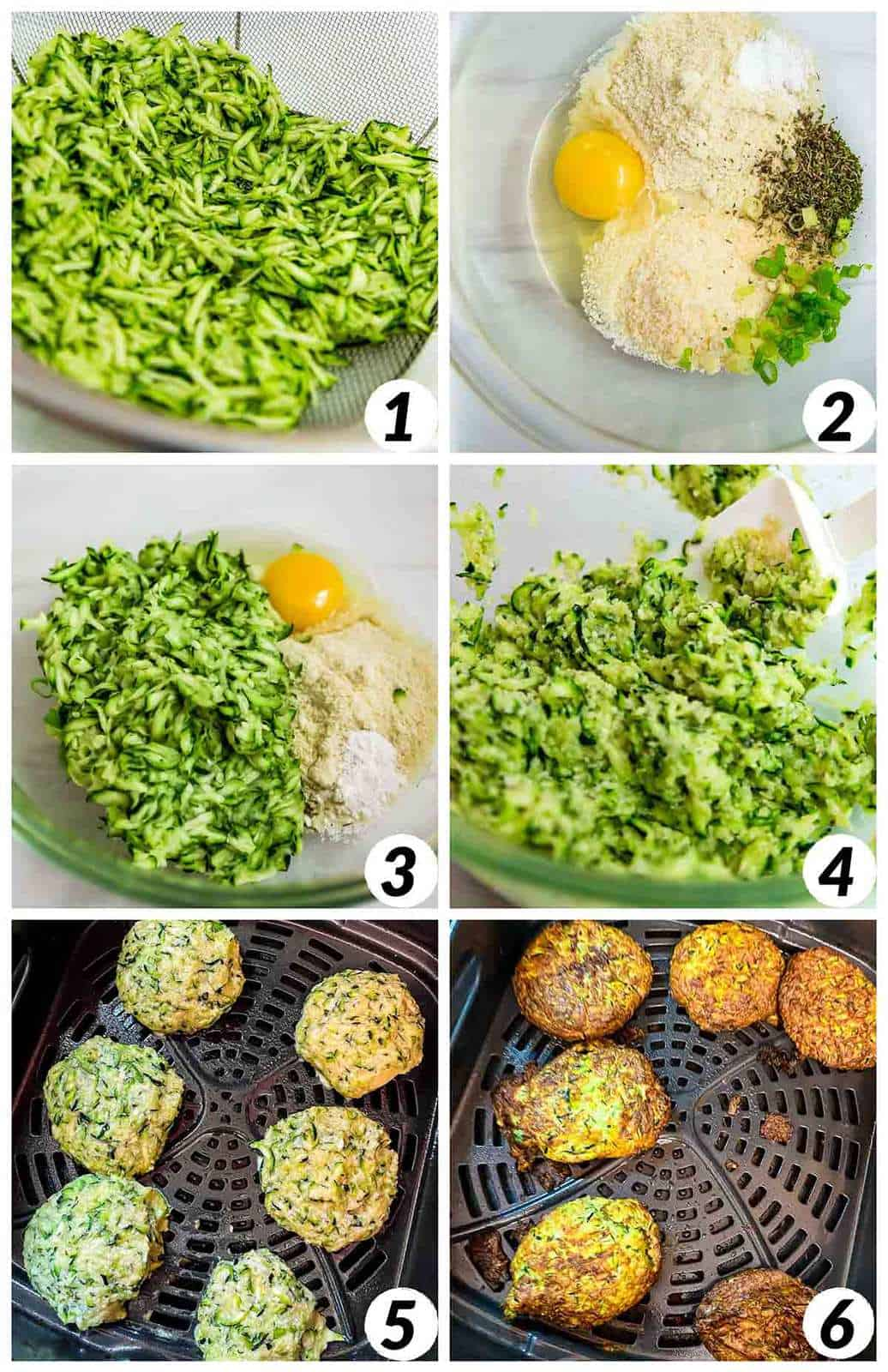 Six panel collage of process shots- shredding zucchini, combining ingredients, forming patties, and baking in the air fryer.