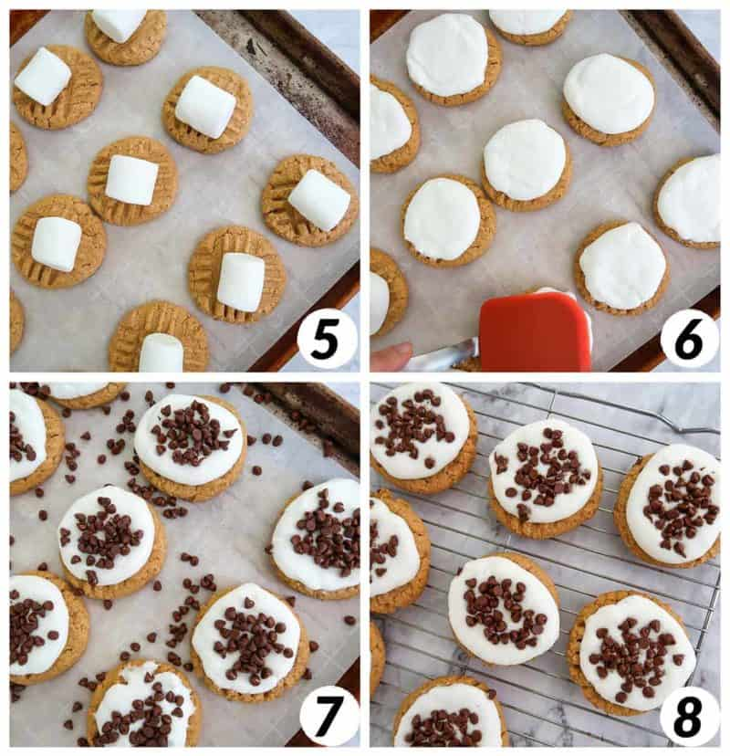 Four panel collage of process steps 5-8: melting marshmallows, adding chocolate chips, and letting the cookies cool.