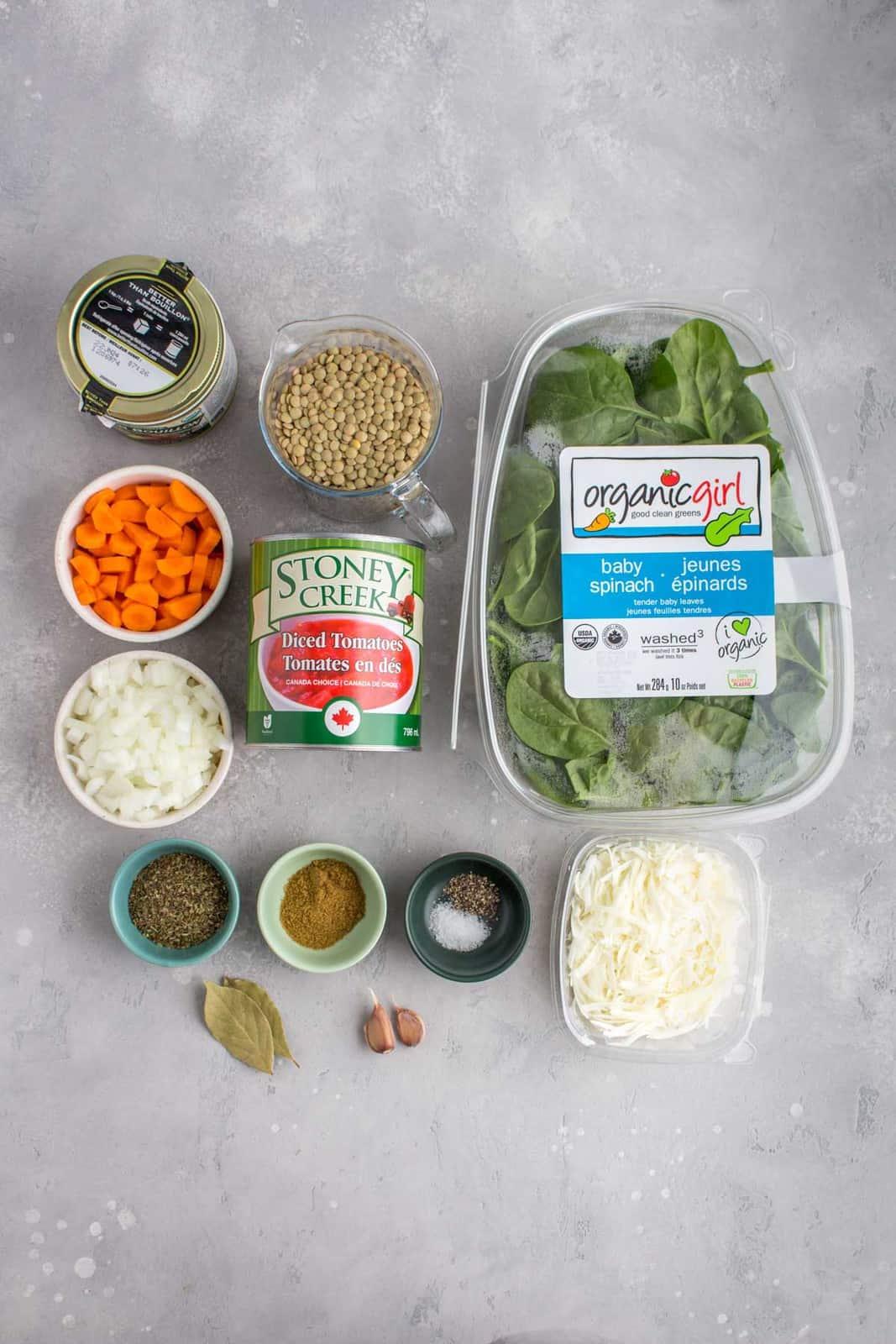 Ingredients needed to make Instant Pot lentil soup.