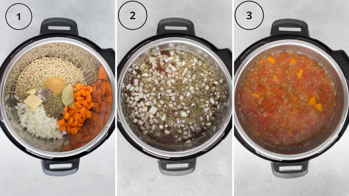 Set of three photos showing ingredients added to an Instant Pot.