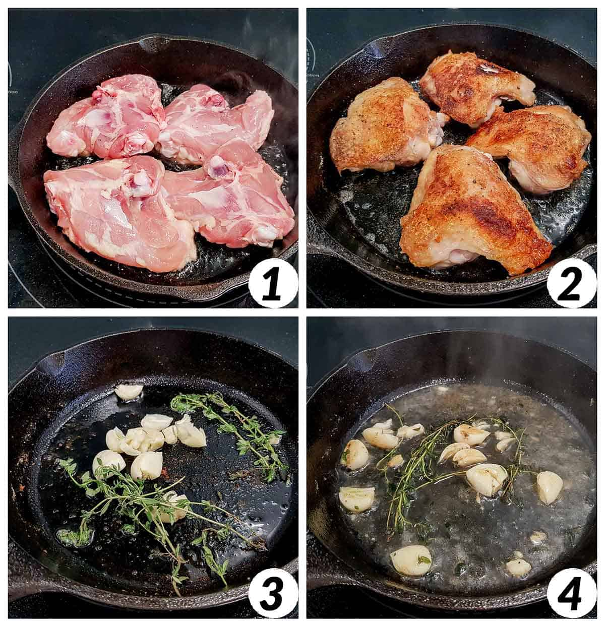 Four panel collage of process shots- cooking chicken thighs in skillet and adding additional ingredients.