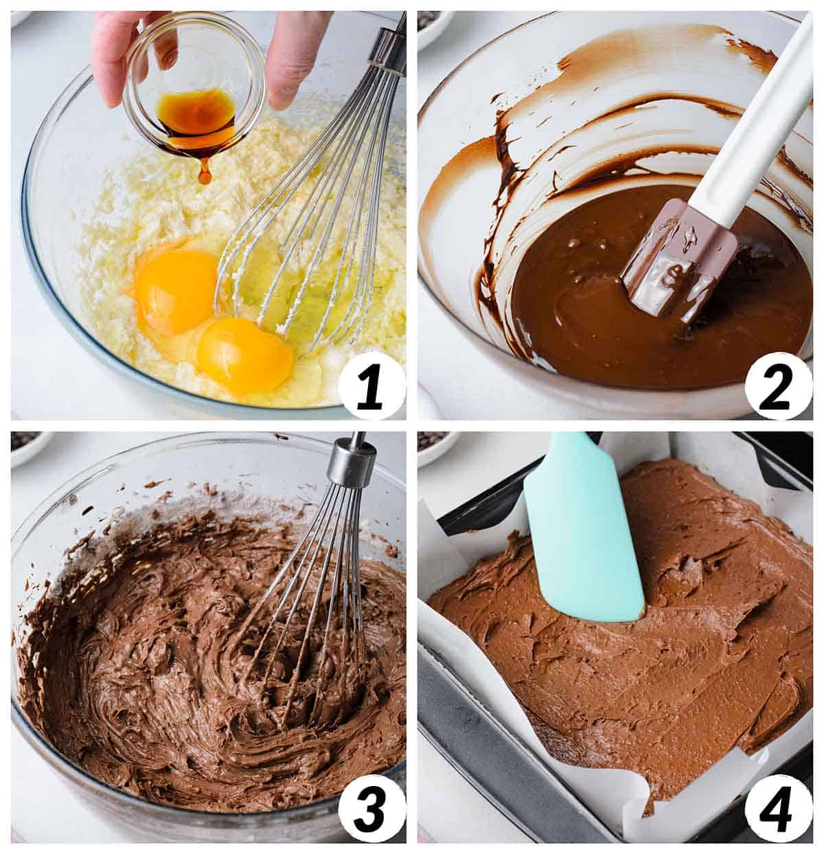 Four panel collage of process shots 1-4- creating brownie batter and baking.